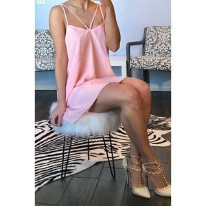 Lovers + friends strappy pink dress